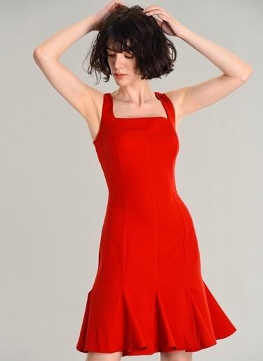 Agenda Kare Yaka Mini Elbise Kırmızı